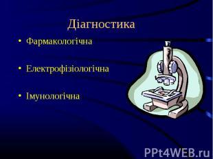 Фармакологічна Фармакологічна Електрофізіологічна Імунологічна