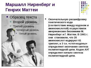 Маршалл Ниренберг и Генрих Маттеи Окончательную расшифровку генетического кода (