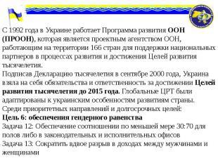 С 1992 года в Украине работает Программа развития ООН (ПРООН), которая является