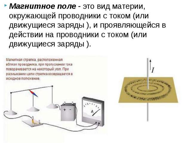 Магнитное поле - это вид материи, окружающей проводники с током (или движущиеся заряды ), и проявляющейся в действии на проводники с током (или движущиеся заряды ). Магнитное поле - это вид материи, окружающей проводники с током (или движущиеся заря…