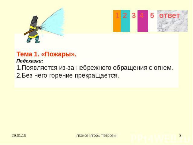 Тема 1. «Пожары». Подсказки: 1.Появляется из-за небрежного обращения с огнем. 2.Без него горение прекращается.