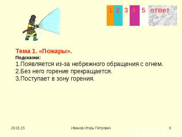 Тема 1. «Пожары». Подсказки: 1.Появляется из-за небрежного обращения с огнем. 2.Без него горение прекращается. 3.Поступает в зону горения.