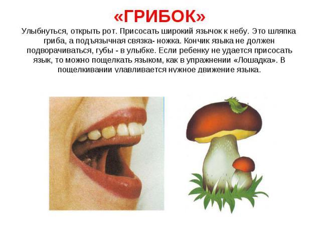 Улыбнуться, открыть рот. Присосать широкий язычок к небу. Это шляпка гриба, а подъязычная связка- ножка. Кончик языка не должен подворачиваться, губы - в улыбке. Если ребенку не удается присосать язык, то можно пощелкать языком, как в упражнении «Ло…