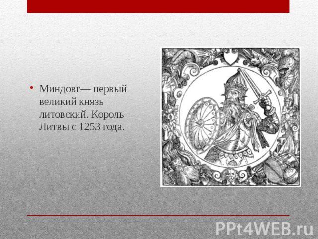 Миндовг— первый великий князь литовский. Король Литвы с 1253 года.