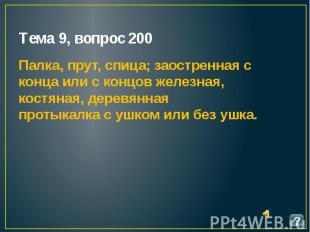 Тема 9, вопрос 200 Палка, прут, спица; заостренная с конца или с концов железная