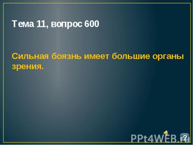Тема 11, вопрос 600 Сильная боязнь имеет большие органы зрения.