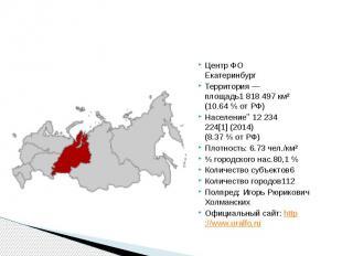 Центр ФО Екатеринбург Территория — площадь1818497 км² (10.64%