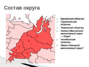 Состав округа Курганская область Свердловская область Тюменская область Ханты-Ма