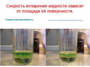 Скорость испарения жидкости зависит от площади её поверхности.Стакан-глубокая ём