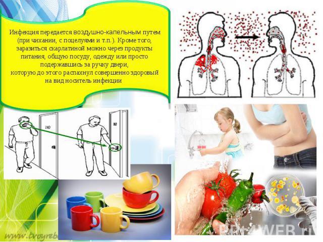 Инфекция передаетсявоздушно-капельнымпутем (при чихании, споцелуями ит.п.). Кроме того, заразитьсяскарлатинойможно через продукты питания, общую посуду, одежду или просто подержавшись заручку двери, которуюдоэтогораспахнул совершенно здоро…