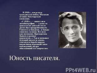 В 1918 г., когда шла гражданская война, Шолохов оставил Богучарскую гимназию. В