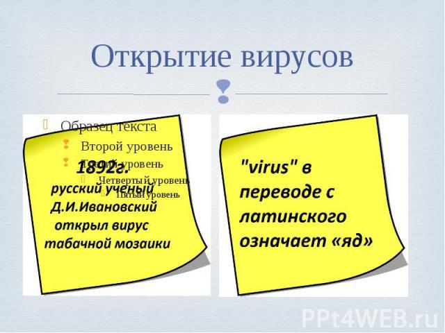 Открытие вирусов