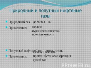 Природный и попутный нефтяные газы Природный газ – до 97% CH4. Применение: Попут