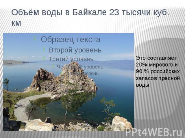 Объём воды в Байкале 23 тысячи куб. кмЭто составляет 20% мирового и 90 % российских запасов пресной воды.