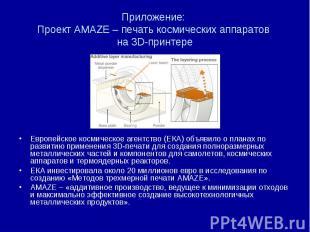 Приложение: Проект AMAZE – печать космических аппаратов на 3D-принтере Европейск