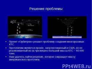 Решение проблемы Проект «Орбитрон» решает проблему создания многоразовых КТС. Пр