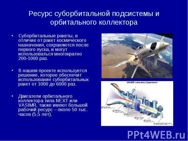 Ресурс суборбитальной подсистемы и орбитального коллектора Суборбитальные ракеты, в отличие от ракет космического назначения, сохраняются после первого пуска, и могут использоваться многократно 200-1000 раз. В нашем проекте используется решение, кот…