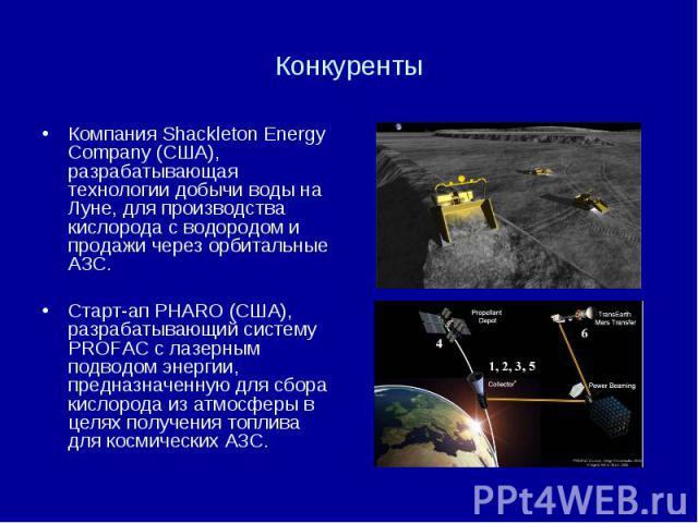 Конкуренты Компания Shackleton Energy Company (США), разрабатывающая технологии добычи воды на Луне, для производства кислорода с водородом и продажи через орбитальные АЗС. Старт-ап PHARO (США), разрабатывающий систему PROFAC с лазерным подводом эне…