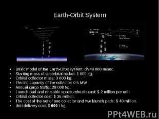 Earth-Orbit System Basic model of the Earth-Orbit system: dV=8 000 m/sec. Starti