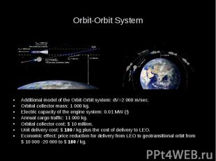 Orbit-Orbit System Additional model of the Orbit-Orbit system: dV=2 000 m/sec. O