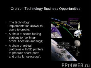 Orbitron Technology Business Opportunities The technology implementation allows