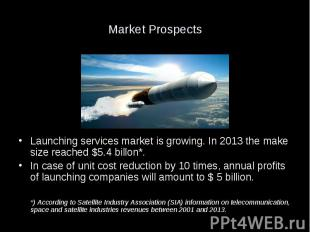 Market Prospects Launching services market is growing. In 2013 the make size rea