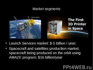 Market segments Launch Services market: $ 5 billion / year; Spacecraft and satel