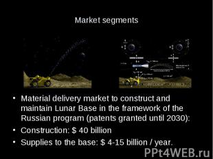Market segments Material delivery market to construct and maintain Lunar Base in