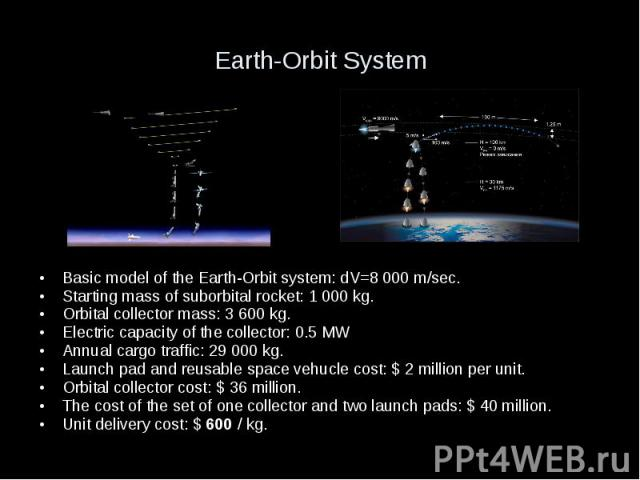 Earth-Orbit System Basic model of the Earth-Orbit system: dV=8 000 m/sec. Starting mass of suborbital rocket: 1 000 kg. Orbital collector mass: 3 600 kg. Electric capacity of the collector: 0.5 MW Annual cargo traffic: 29 000 kg. Launch pad and reus…