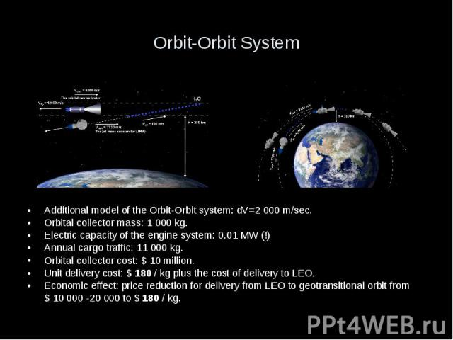 Orbit-Orbit System Additional model of the Orbit-Orbit system: dV=2 000 m/sec. Orbital collector mass: 1 000 kg. Electric capacity of the engine system: 0.01 MW (!) Annual cargo traffic: 11 000 kg. Orbital collector cost: $ 10 million. Unit delivery…