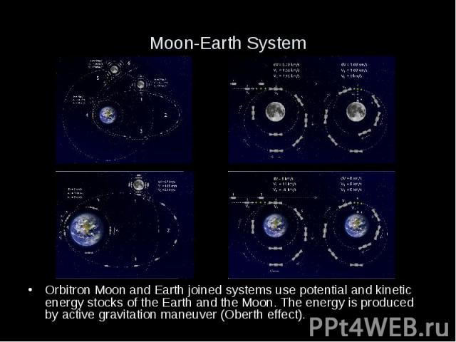 Moon-Earth System Orbitron Moon and Earth joined systems use potential and kinetic energy stocks of the Earth and the Moon. The energy is produced by active gravitation maneuver (Oberth effect).