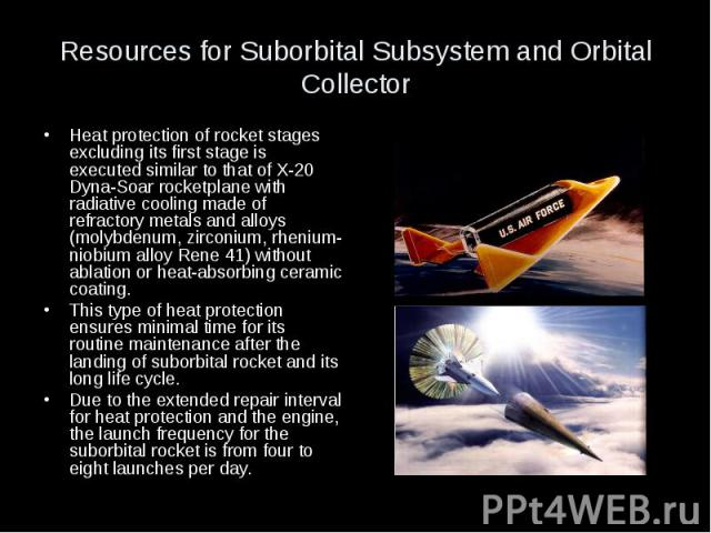 Resources for Suborbital Subsystem and Orbital Collector Heat protection of rocket stages excluding its first stage is executed similar to that of X-20 Dyna-Soar rocketplane with radiative cooling made of refractory metals and alloys (molybdenum, zi…