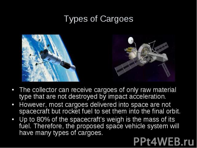 Types of Cargoes The collector can receive cargoes of only raw material type that are not destroyed by impact acceleration. However, most cargoes delivered into space are not spacecraft but rocket fuel to set them into the final orbit. Up to 80% of …