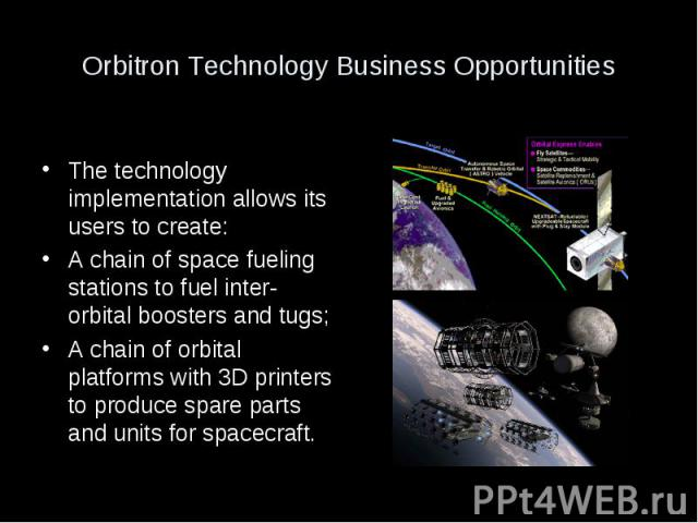 Orbitron Technology Business Opportunities The technology implementation allows its users to create: A chain of space fueling stations to fuel inter-orbital boosters and tugs; A chain of orbital platforms with 3D printers to produce spare parts and …
