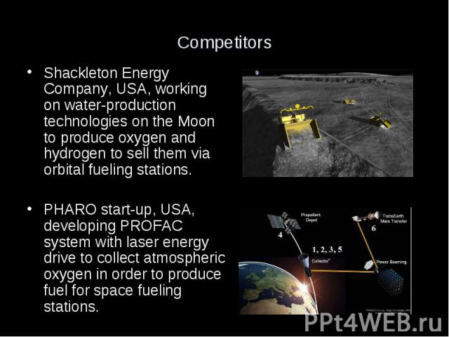 Competitors Shackleton Energy Company, USA, working on water-production technologies on the Moon to produce oxygen and hydrogen to sell them via orbital fueling stations. PHARO start-up, USA, developing PROFAC system with laser energy drive to colle…
