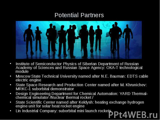 Potential Partners Institute of Semiconductor Physics of Siberian Department of Russian Academy of Sciences and Russian Space Agency: ОКА-Т technological module Moscow State Technical University named after N.E. Bauman: EDTS cable electric engine St…
