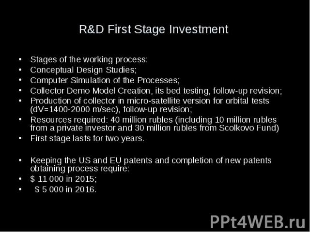 R&D First Stage Investment Stages of the working process: Conceptual Design Studies; Computer Simulation of the Processes; Collector Demo Model Creation, its bed testing, follow-up revision; Production of collector in micro-satellite version for…