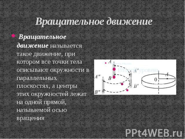 Вращательное движение Вращательное движение называется такое движение, при котором все точки тела описывают окружности в параллельных плоскостях, а центры этих окружностей лежат на одной прямой, называемой осью вращения