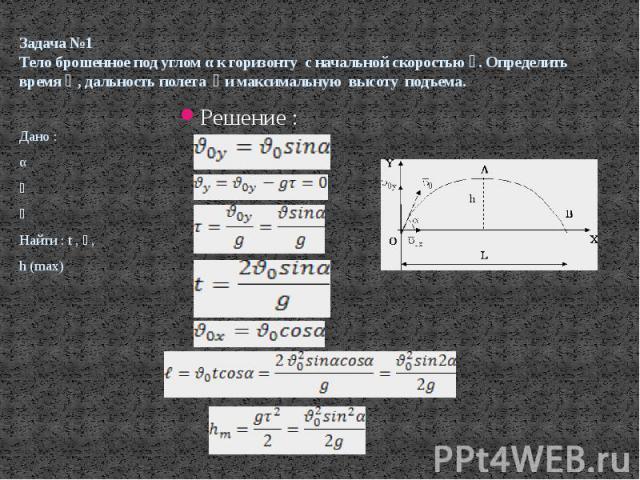 Задача №1 Тело брошенное под углом α к горизонту с начальной скоростью �� . Определить время �� , дальность полета �� и максимальную высоту подъема. Решение :