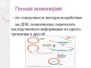 Генная инженерия - это совокупность методов воздействия на ДНК, позволяющих пере