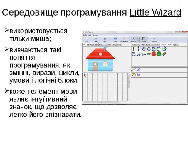 Середовище програмування Little Wizard використовується тільки миша; вивчаються такі поняття програмування, як змінні, вирази, цикли, умови і логічні блоки; кожен елемент мови являє інтуїтивний значок, що дозволяє легко його впізнавати.