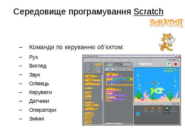 Середовище програмування Scratch Команди по керуванню об'єктом: Рух Вигляд Звук Олівець Керувати Датчики Оператори Змінні