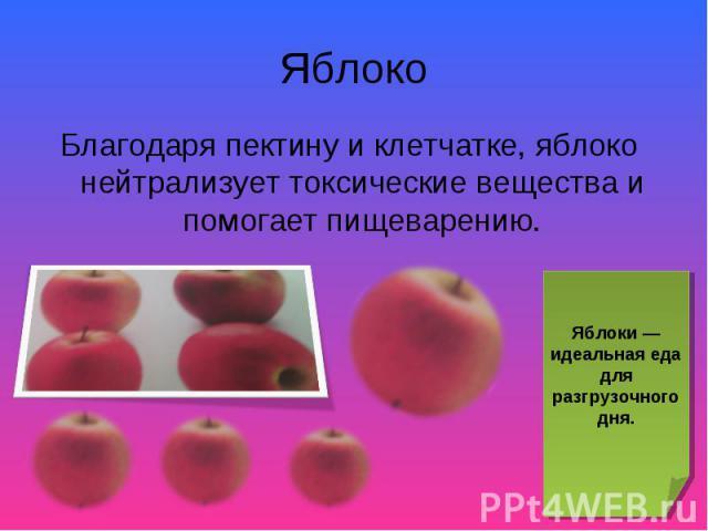 Благодаря пектину и клетчатке, яблоко нейтрализует токсические вещества и помогает пищеварению. Благодаря пектину и клетчатке, яблоко нейтрализует токсические вещества и помогает пищеварению.