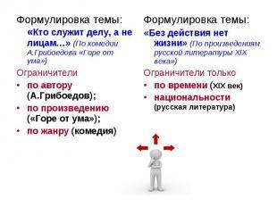 Формулировка темы: «Кто служит делу, а не лицам…» (По комедии А.Грибоедова «Горе