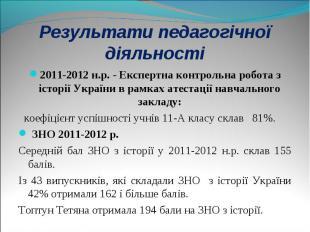 2011-2012 н.р. - Експертна контрольна робота з історії України в рамках атестаці
