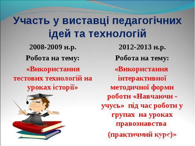 2008-2009 н.р. 2008-2009 н.р. Робота на тему: «Використання тестових технологій на уроках історії»