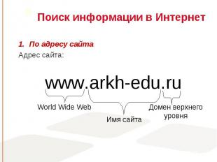 По адресу сайта По адресу сайта Адрес сайта: