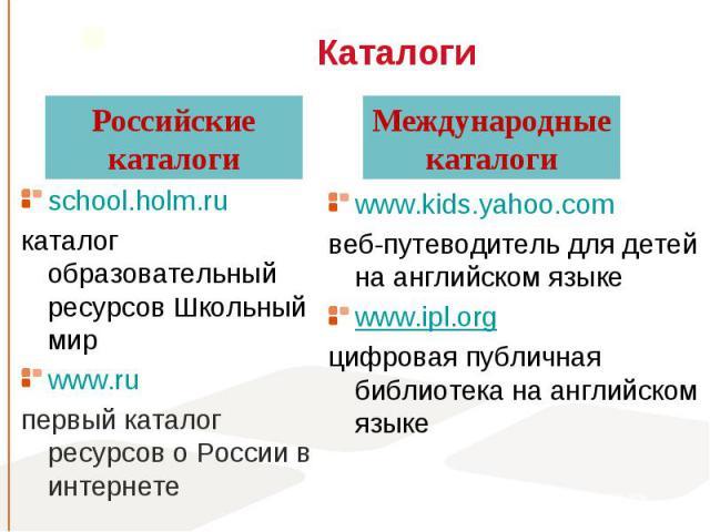 school.holm.ru school.holm.ru каталог образовательный ресурсов Школьный мир www.ru первый каталог ресурсов о России в интернете