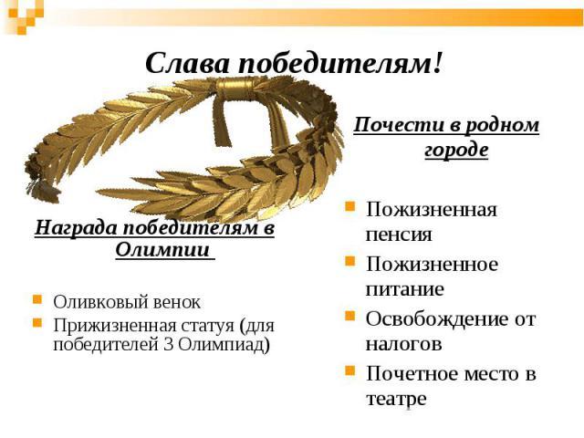 Награда победителям в Олимпии Награда победителям в Олимпии Оливковый венок Прижизненная статуя (для победителей 3 Олимпиад)