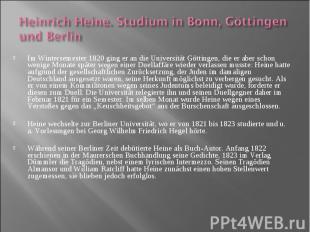 Im Wintersemester 1820 ging er an die Universität Göttingen, die er aber schon w